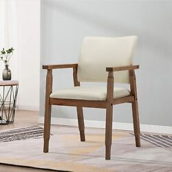 Modern Dining Chairs Wood Arm Beige Fabric Kitchen Living Room Decor Furniture