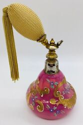Vintage Pink And Gold Moser Enameled Czech Perfume Bottle Atomizer 1890- 1900