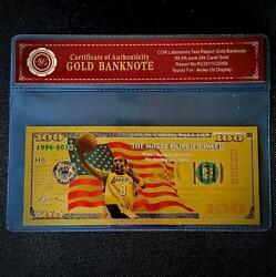 Gold Kobe Bryant La Lakers Banknote With Bag And Certificate Of Authenticity