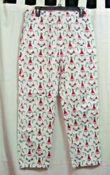 The Company Store Santa And Candy Canes Flannel Pajama Bottoms - Size S