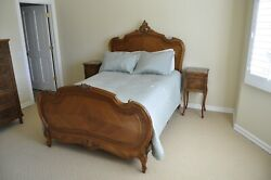 Antique French Bed, Armoire And 2 Marble Top Bed Tables / Nightstands