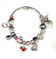 Meaningful Silver-tone Religious Celebrate Life Heart Charm And Spacer Bracelet