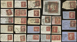 Scotland Gb Queen Victoria Penny Reds 1841-75 Postmarks On Piece ..priced Singly