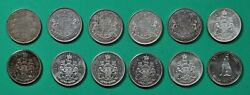 Canada,50 Cents,12 Silver Coins,1919,1937,1942,1947,1950,1960-1965,1967