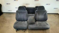 1995 Chevy Gmc 1500 Pick Up Seat Set Front And Rear Blue Cloth Extended Cab