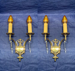 Antique Polished Brass Double Candle Sconces French Wheel Cut Prisms 113d