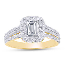 1 Ct. T.w.certified Emerald-cut Diamond Frame Engagement Ring In 14k Yellow Gold