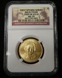 2009 Julia Tyler 10 Gold First Spouse Ngc Ms70