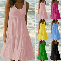 Womens Sleeveless Crew Neck Summer Sundress Casual A Line Tank Midi Beach Dress $14.16