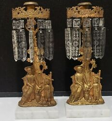 2-vintage Victorian Brass Mantle Candleholders Woman Child Marble Glass Prisms