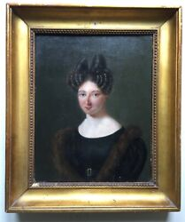 19th Century French Antique Oil Painting Portrait Woman Boilly