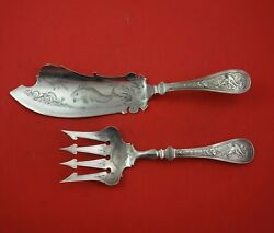 Bird By Wendt Sterling Silver Fish Serving Set 2pc Bright-cut W/fish Multi Motif
