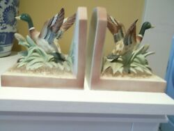 Vintage Lefton China Hand Painted Mallard Duck Bookends Kw2229a
