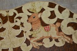 Reindeer And Christmas Trees In Gold Metallic German Long Runner Or Tablecloth
