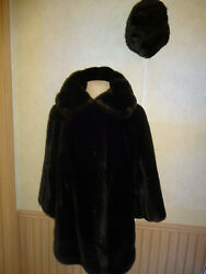 Vintage 1970s Womens Sears Fashions Faux Fur Coat And Hat Brown Lined Tissavel