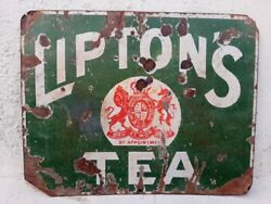 Liptonand039s Tea Ad Porcelain Enamel Sign Board 1930and039s Antique Old Rare Genuine Sign