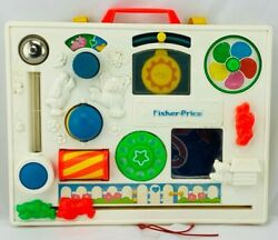 1988 Fisher Price Crib Busy Box Activity Center With Back Clamp Clean Great Cond