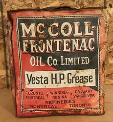 Rare 1920and039s Vintage Mccoll-frontenac Vesta H.p. Grease Can Red Indian Oil