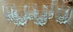 6 Crown Royal Rocks Glasses With Pointed Feet Excellent
