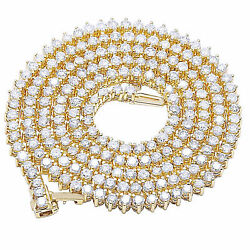 Men's 10k Yellow Gold Over 3 Prong Round Tennis Chain Necklace Chain 10 Ct 24
