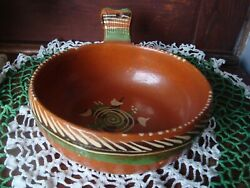 Vintage Handmade Painted Mexican Red Clay Pottery Serving Bowl