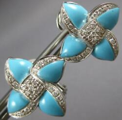 Estate Large .75ct Diamond And Turquoise 14kt White Gold Flower Clip On Earrings