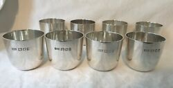 Eight English Sterling Silver Walter H.wilson Ltd Cocktail Drinking Cups.