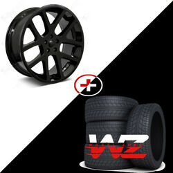22 Gloss Black Wheels W/tires Fits Dodge Charger Challenger Magnum