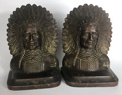 Antique Jennings Brothers Native American Indian Bronze Sculpture Bookends 2061