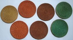 Vintage Wicker Color Paper Plate Holders Lot 7 Rattan Picnic Bbq Camping 9.5