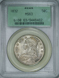 1832 Pcgs Ms63 Ogh Bust Half Brilliant Luster Strong Detail And Great Eye Appeal