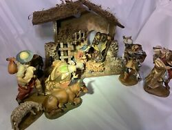 Vintage 13 Piece Fontanini Nativity Set Figures Stable Included Adoration