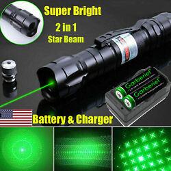 900 Miles 532nm Green Laser Pointer Star Beam Rechargeable Lazer+battery+charger