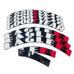 Goodyear Eagle F1 Tire Lettering Sticker 1.25 15-24 8 Kits Wheel Decal