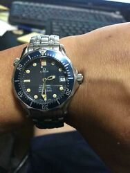 Omega Seamaster Chronometer 300m/100ft Black Dial Stainless Steel Menand039s Watch