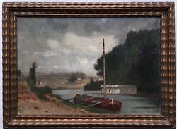 19thc French Impressionism Oil Painting Landscape Barge Fabius Brest 1823-1900
