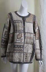Northern Isle 2x Hand-knit Fabulous Patchwork Leaf Art-to-wear Cardigan Sweater