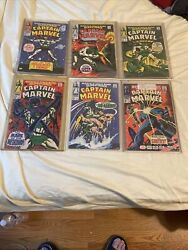 Captain Marvel 1968 1,2,3,4,5,13 Comic Book Packed In Plactic Vg Condition