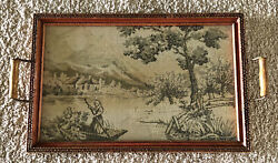 Vintage Tapestry Wood Glass Butlers Serving Tea/coffee Tray