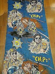Chips Chips Original 1970's Tv Show Sleeping Bag With Ponch And Jon, Excellent