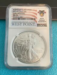 2015w 1oz Burnished Silver American Eagle Ngc Ms70 Er Duty Honor Country Label
