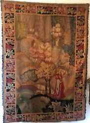 18th Century European Tapestry Classical Scene With Woman And Man With Horses.