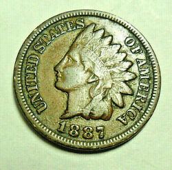 1887 P Indian Head Cent Penny Vf - Very Fine Free Shipping