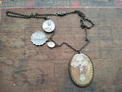 Outstanding Antique Vintage Catholic Pendant Medals Saints Necklace A Must See
