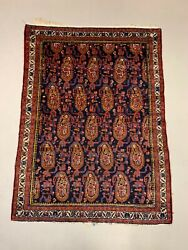 Vintage Malayer Rug 145x110 Cm Small Tribal Oriental Carpet Navy Blue Red