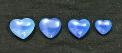 Natural Blue Chalcedony In Saline Sliced Heart Plain Shape Size 21 Mm To 25 Mm