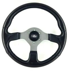 Genuine Momo Fighter 350mm Black Leather Steering Wheel. Land Rover Centre. 7a