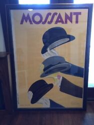 Original Framed Vintage Poster Mossant Cappiello 1938 Hats - Signed By Artist
