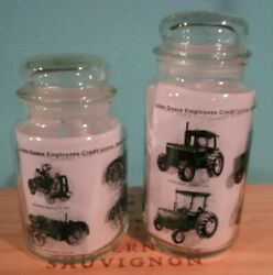 2 Vintage John Deere Employees Credit Union Glass Advertising Canisters W/ Lids