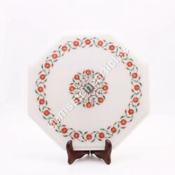 12x12 Marble White Octagon Nesting Table Top Carnelian Floral Occasion Gift